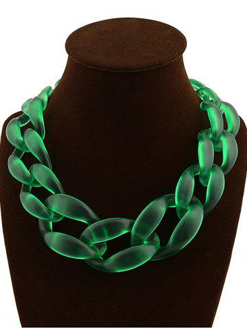 Trendy Candy Color Braided Acrylic Necklace GREEN