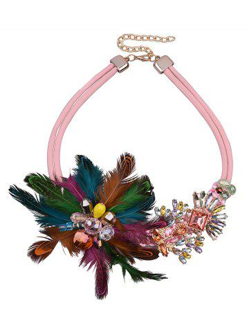 Discount Feather Flower Fake Crystal Necklace