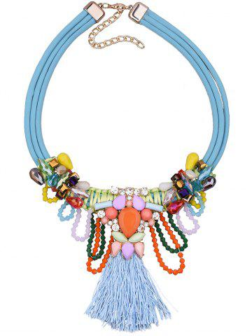 Affordable Bohemia Fake Gem Beads Tassel Necklace