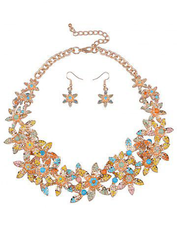 Hot Rhinestoned Floral Party Jewelry Set