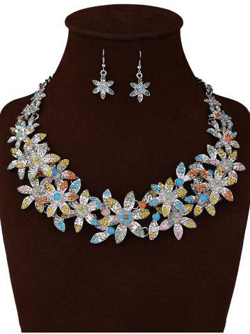 Best Rhinestoned Floral Party Jewelry Set