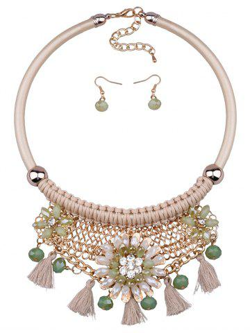 Shop Statement Floral Tassel Weaving Faux Crystal Jewelry Set - OFF-WHITE  Mobile