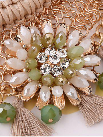 Cheap Statement Floral Tassel Weaving Faux Crystal Jewelry Set - OFF-WHITE  Mobile