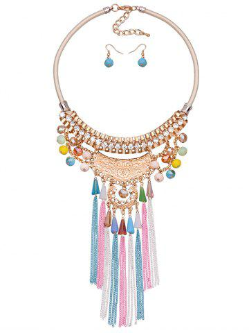 Hot Bohemia Tassel Chains Faux Crystal Rhinestone Jewelry Set GOLDEN