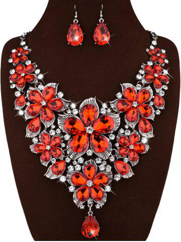 Cheap Faux Crystal Floral Statement Jewelry Set RED