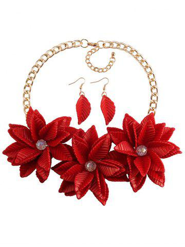 Best Leaf Blossom Necklace and Earrings - RED  Mobile