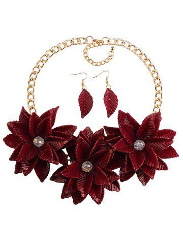 Cheap Leaf Blossom Necklace and Earrings