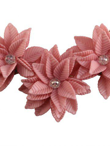 Fancy Leaf Blossom Necklace and Earrings - PINK  Mobile