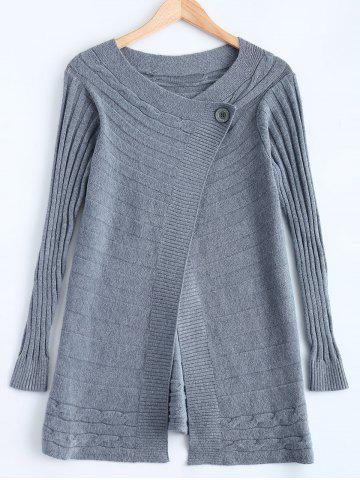 Discount One Button Striped Braid Cardigan