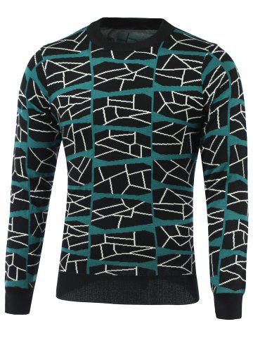 Chic Color Block Geometric Grid Print Round Neck Long Sleeve Sweater