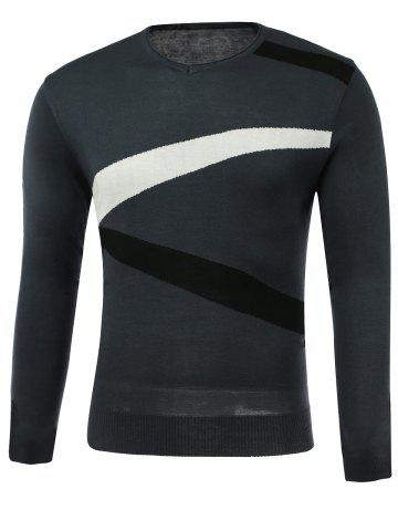 Unique Color Block Spliced Design V-Neck Long Sleeve Sweater GRAY 3XL