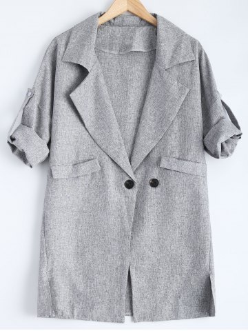 Sale Slit Pocket Design Double Breasted Coat GRAY 3XL