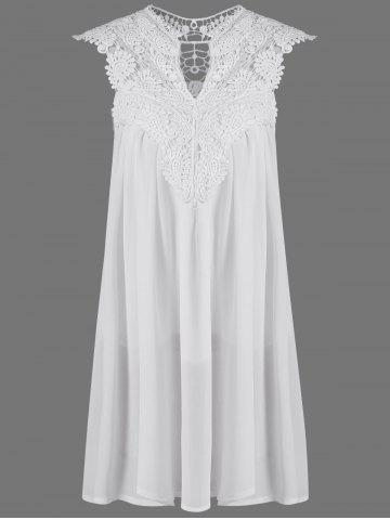 Best Crochet Lace Insert Ruched Dress WHITE XL