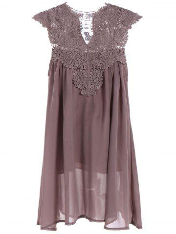 Outfits Crochet Lace Insert Ruched Dress LIGHT COFFEE L