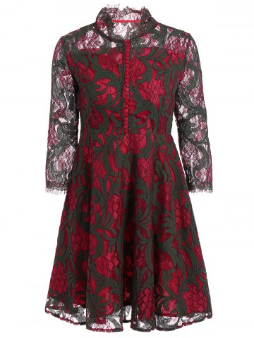 Sale Long Sleeve See Through Lace Dress DEEP RED M