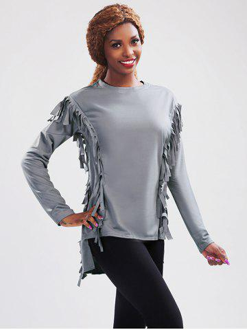 Best Long Sleeve High Low Fringed T-Shirt