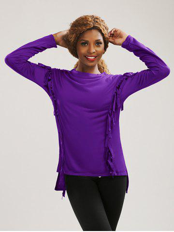 Sale Long Sleeve High Low Fringed T-Shirt