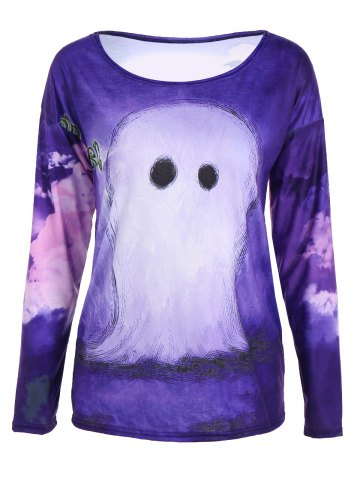Outfit 3D Printed Halloween T-Shirt PURPLE XL