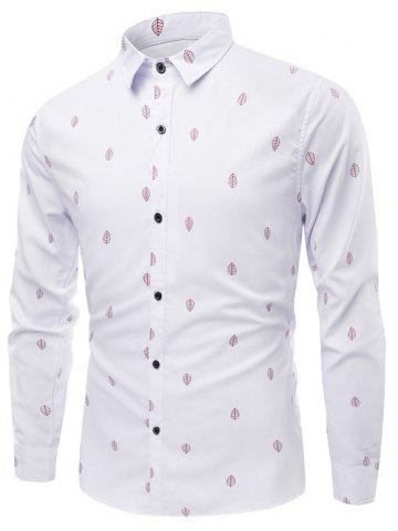 Outfits Leaves Pattern Turn-Down Collar Long Sleeve Shirt