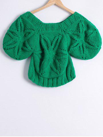 Shop Scoop Neck Flower Jacquard Hand-Knitted Sweater