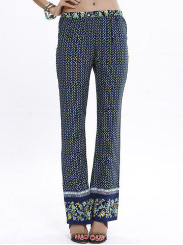 Fancy Casual Straight Leg Printed Vintage Pants - GREEN M Mobile