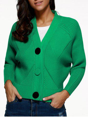 Chic Batwing Sleeve Buttoned Cardigan