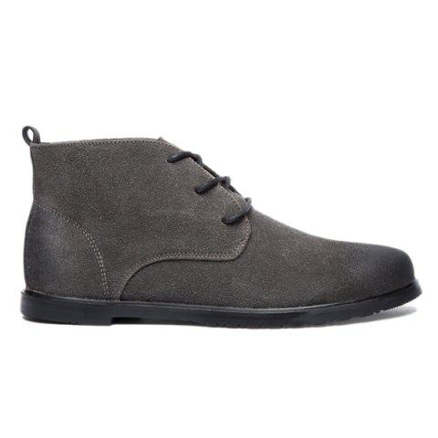 Outfits Retro Lace-Up Suede Ankle Boots - 43 GRAY Mobile
