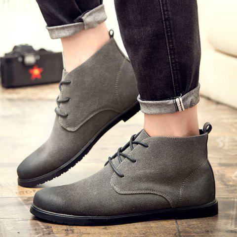 Online Retro Lace-Up Suede Ankle Boots - 43 GRAY Mobile