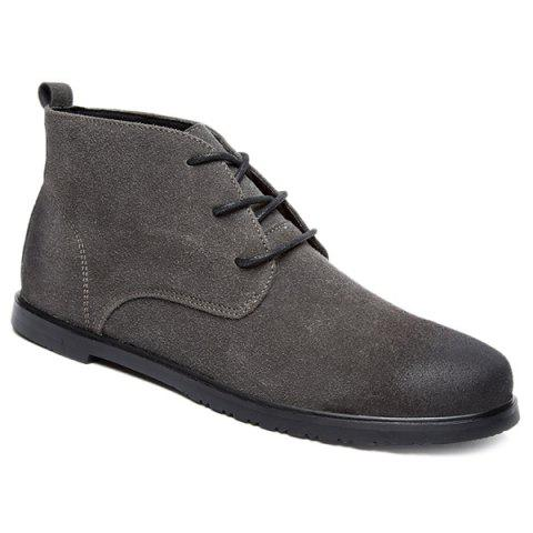 Hot Retro Lace-Up Suede Ankle Boots - 43 GRAY Mobile