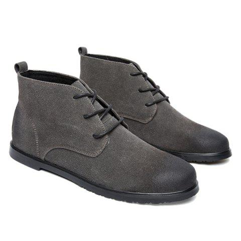 Discount Retro Lace-Up Suede Ankle Boots - 43 GRAY Mobile
