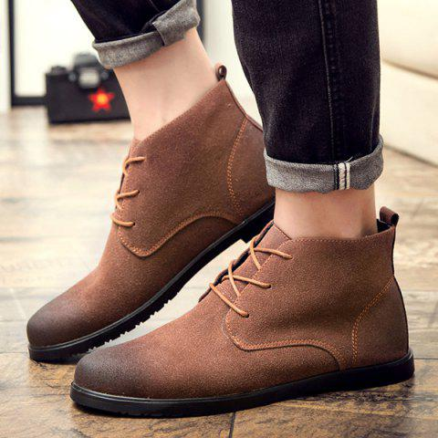 Online Retro Lace-Up Suede Ankle Boots - 41 BROWN Mobile