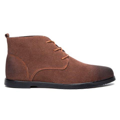 Outfits Retro Lace-Up Suede Ankle Boots - 41 BROWN Mobile