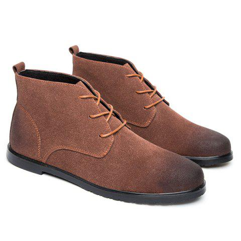 Discount Retro Lace-Up Suede Ankle Boots - 41 BROWN Mobile