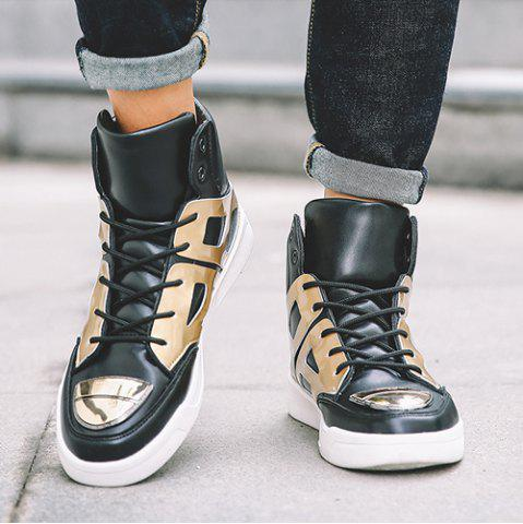 Trendy Patent Leather Spliced Lace-Up Boots - 44 GOLDEN Mobile
