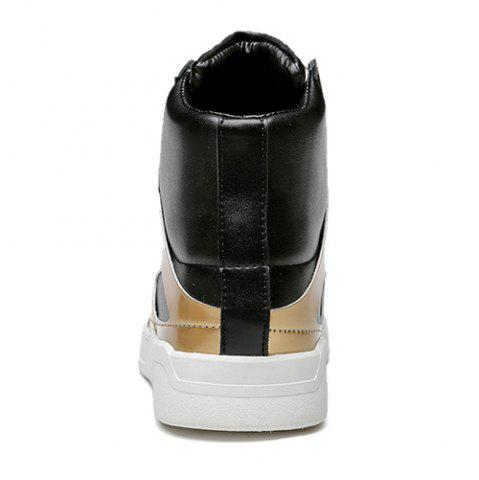 Affordable Patent Leather Spliced Lace-Up Boots - 44 GOLDEN Mobile