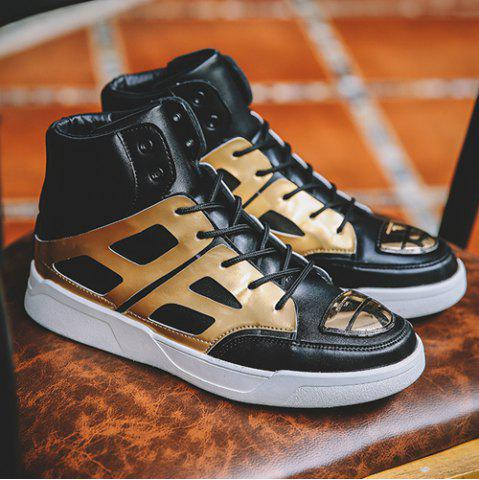 Discount Patent Leather Spliced Lace-Up Boots - 42 GOLDEN Mobile