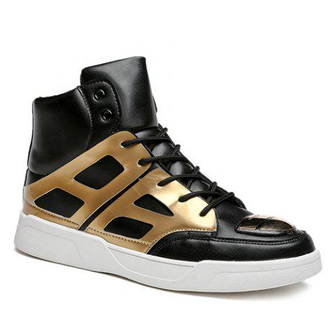 Cheap Patent Leather Spliced Lace-Up Boots - 42 GOLDEN Mobile