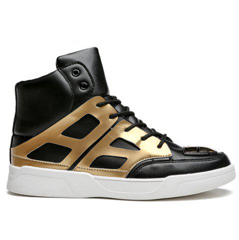 New Patent Leather Spliced Lace-Up Boots - 42 GOLDEN Mobile