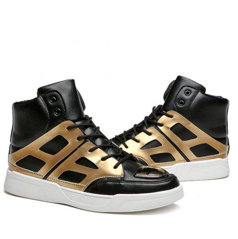 Affordable Patent Leather Spliced Lace-Up Boots - 42 GOLDEN Mobile