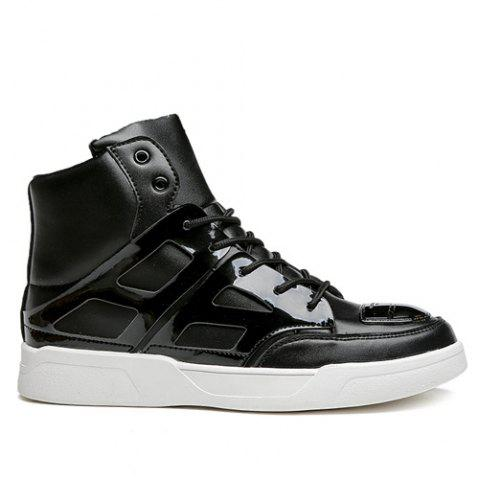 Fashion Patent Leather Spliced Lace-Up Boots - 43 BLACK Mobile