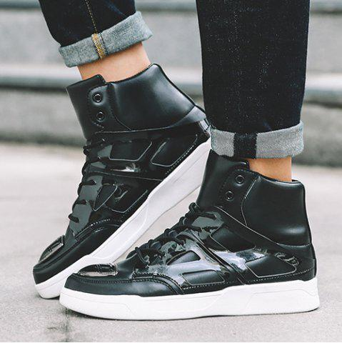 New Patent Leather Spliced Lace-Up Boots - 44 BLACK Mobile