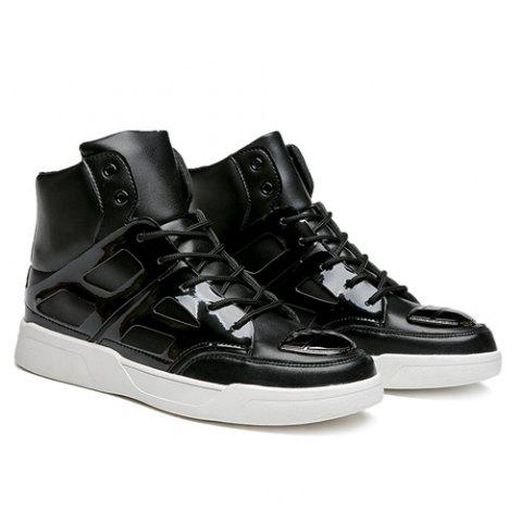Fashion Patent Leather Spliced Lace-Up Boots - 44 BLACK Mobile