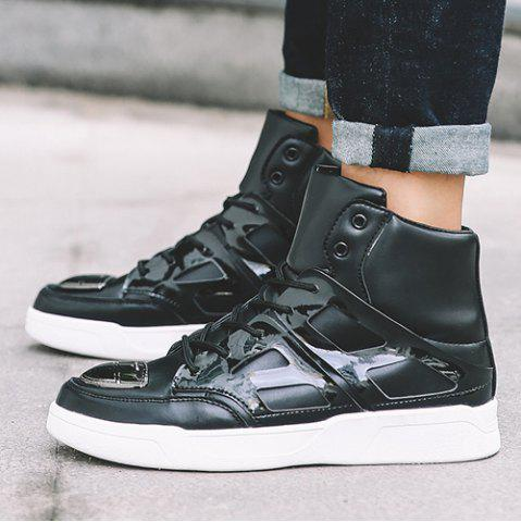 Affordable Patent Leather Spliced Lace-Up Boots - 44 BLACK Mobile