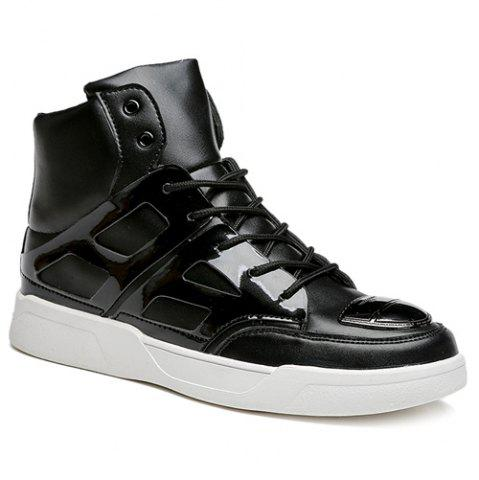 Fashion Patent Leather Spliced Lace-Up Boots - 40 BLACK Mobile