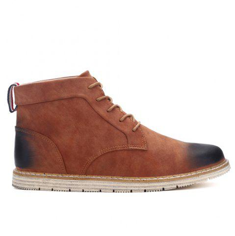 Discount Stitching Lace-Up PU Leather Ankle Boots - 44 BROWN Mobile