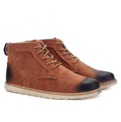 Hot Stitching Lace-Up PU Leather Ankle Boots - 40 BROWN Mobile