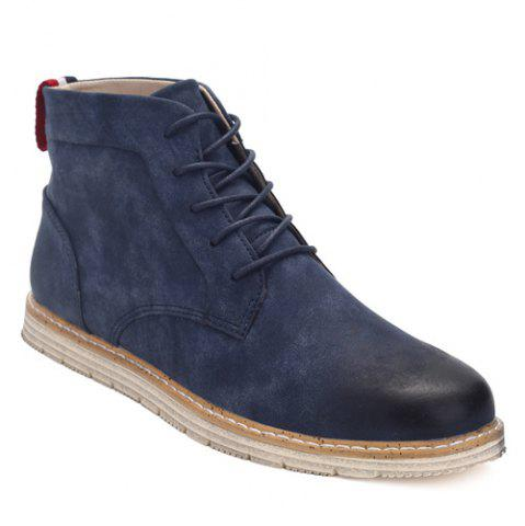 Best Stitching Lace-Up PU Leather Ankle Boots - 44 BLUE Mobile