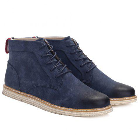 Shops Stitching Lace-Up PU Leather Ankle Boots - 44 BLUE Mobile