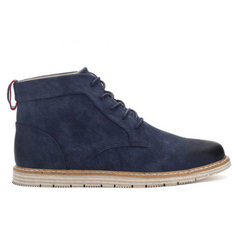 Store Stitching Lace-Up PU Leather Ankle Boots - 42 BLUE Mobile