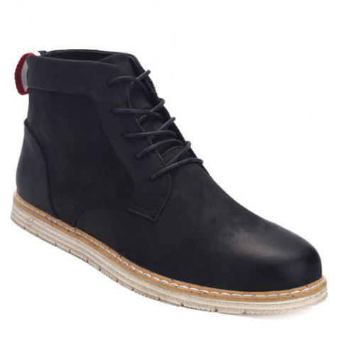 Broder Lace-Up PU Bottines en cuir